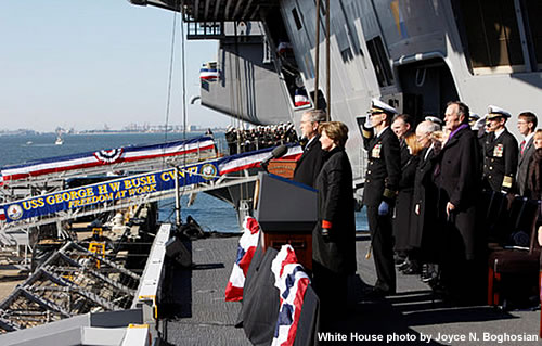 President Bush and Former President George H. W. Bush Attend Commissioning Ceremony of the U.S.S. George H.W. Bush